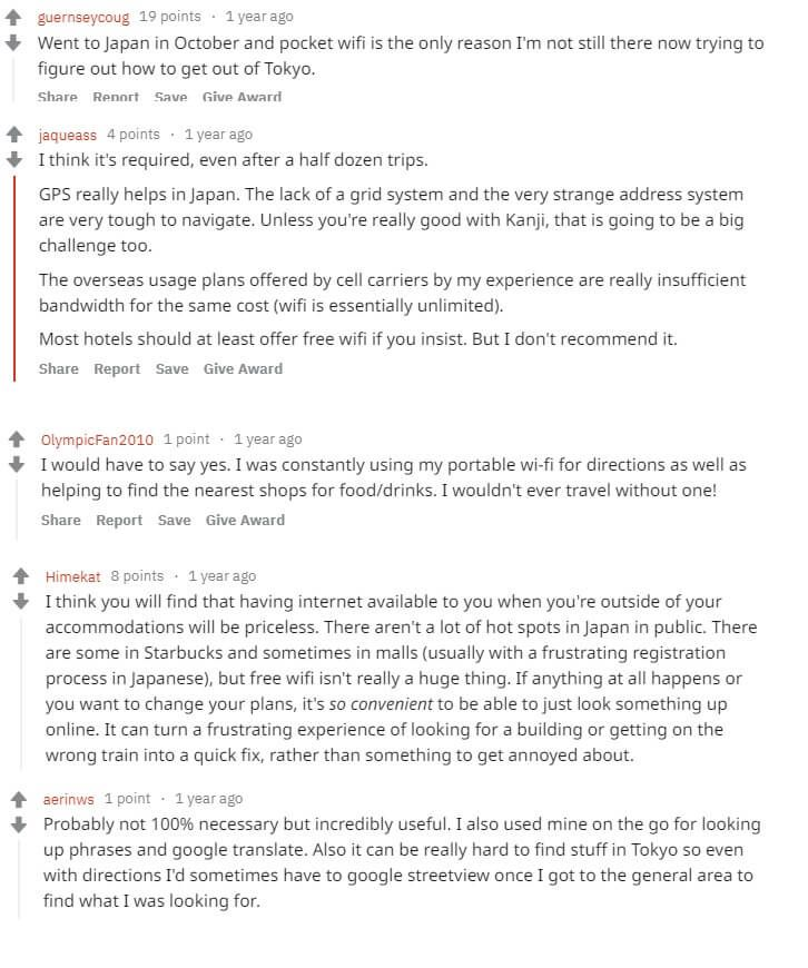 Comments about Pocket WiFi rental on Reddit