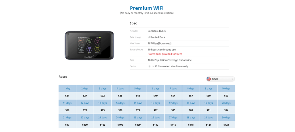 Japan Wireless Premium Wi-Fi prices before tax